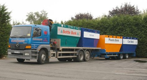 Lorry loading recycling banks