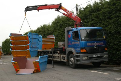 Lorry loading Stacked Skips
